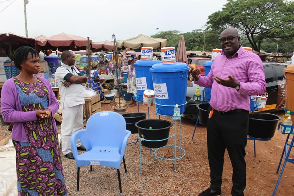 COVID-19: Soda Donates Veronica Buckets to Traders In Dodowa Market.